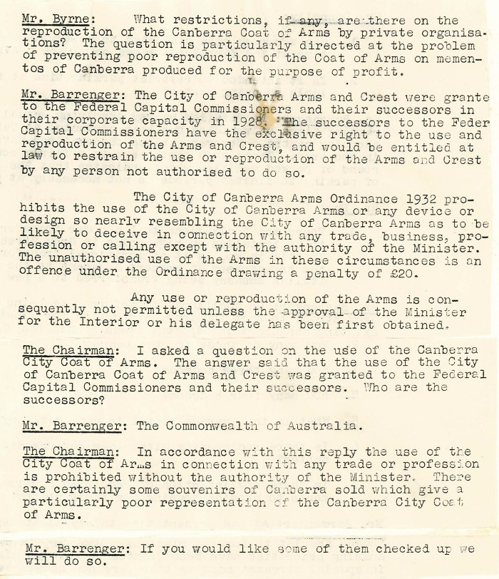 Excerpt from ACT Advisory Council Meeting 472 - 17-07-1961