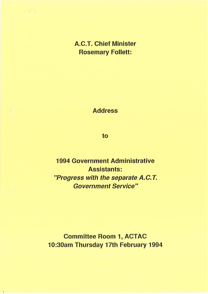 Progress With the Separate ACT Government Service 17 February 1994 - page 1
