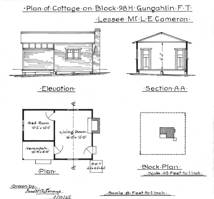 Plan of cottage on Gungahlin Block 98H