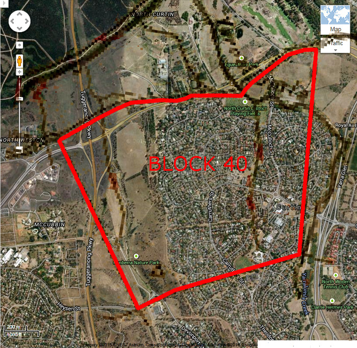 Google Maps image of area c2014 with Woden Block 40 boundary in red