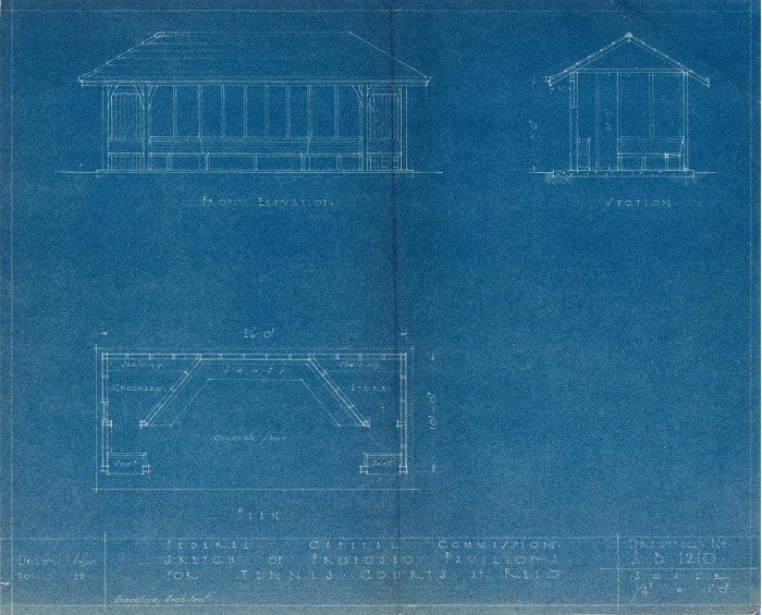 1929 plan of the proposed £150 pavilion for the Reid Tennis Courts