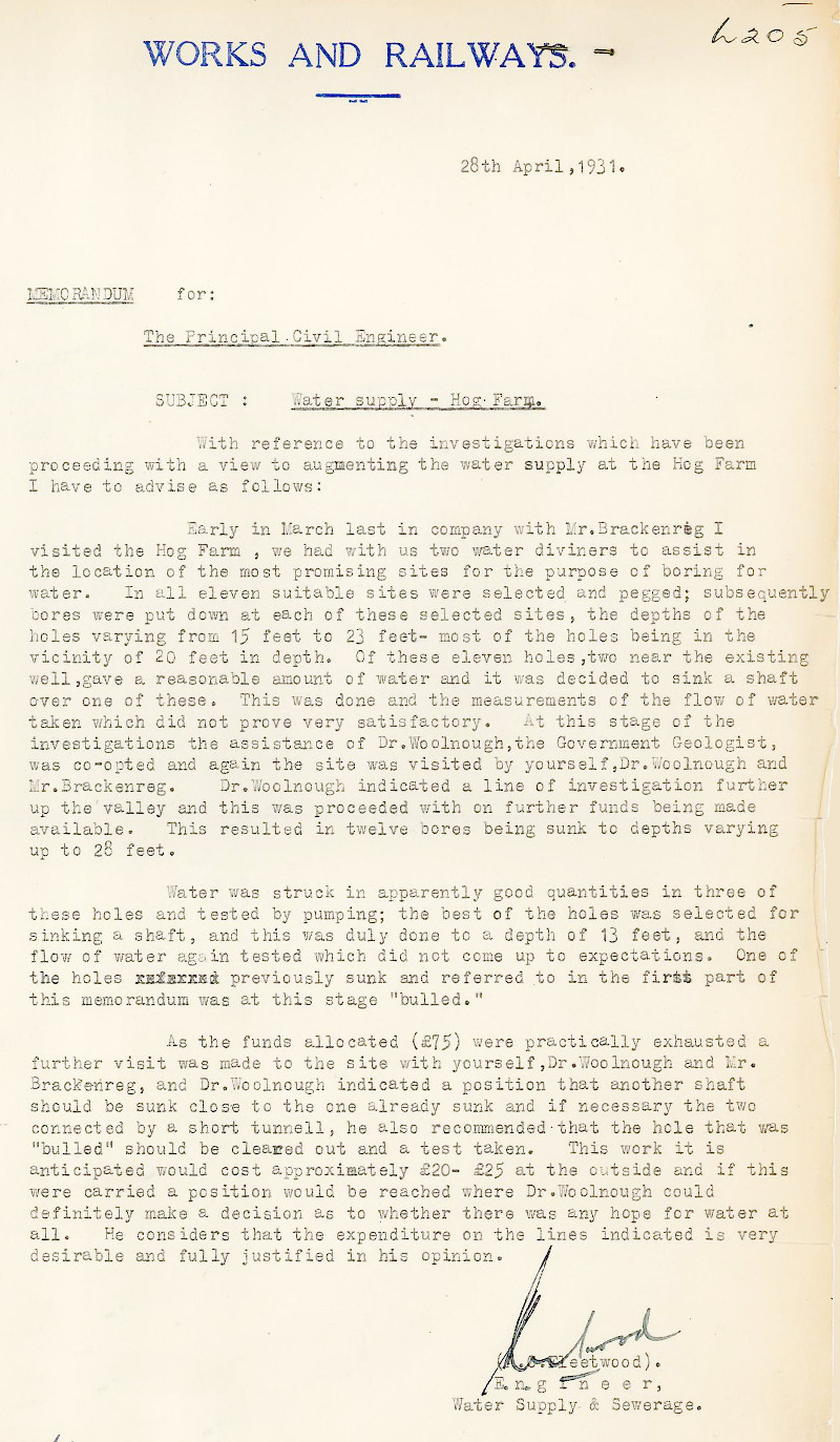 Memo from Engineer, A.C. Fleetwood dated the 28th April 1931.