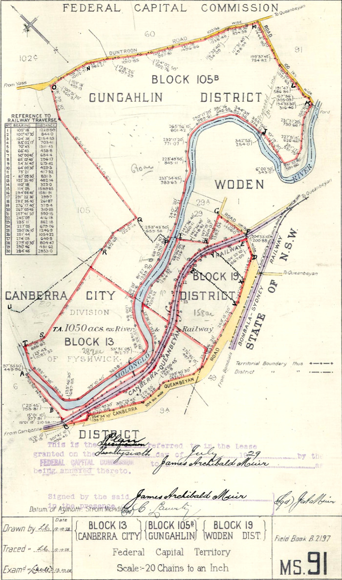 Map of Gungahlin Block 105B, Canberra City Block 13 & Woden Block 19 in 1928
