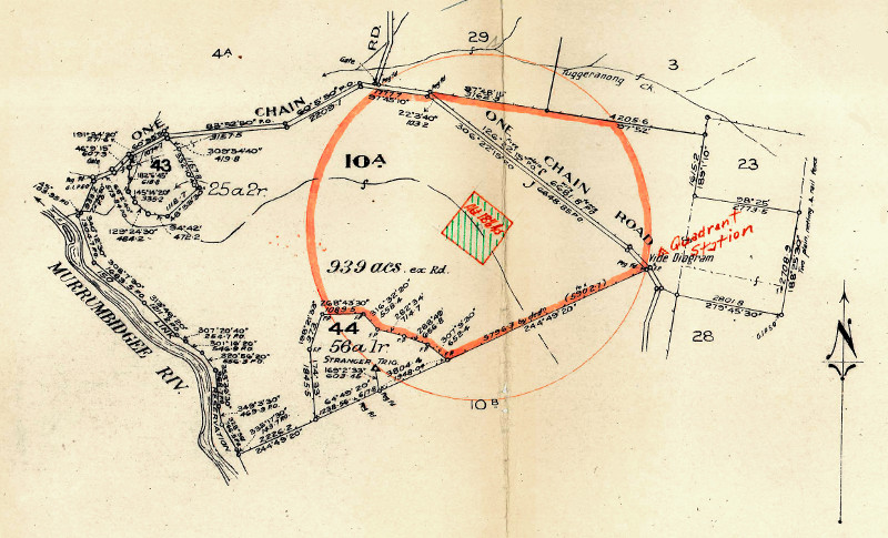 Lanyon Block 10A with the Tuggeranong Bombing Range outlined in red