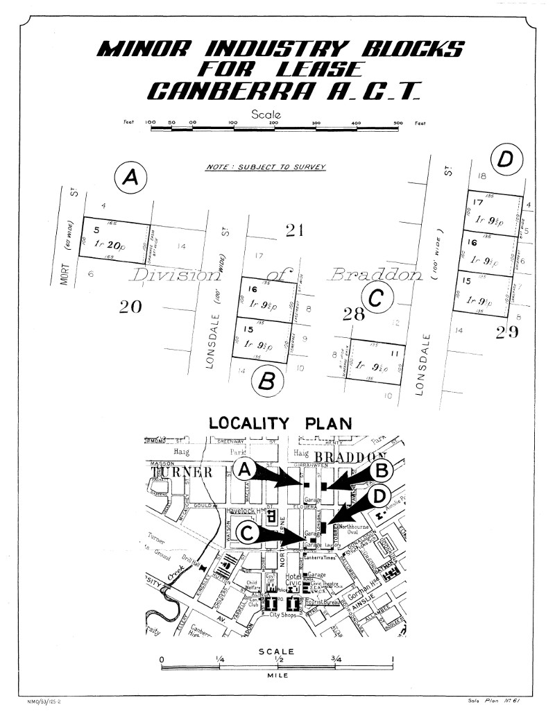 Department of the Interior poster showing Braddon industrial blocks for lease in October 1953