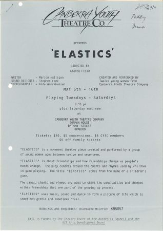 Flier for Canberra Youth Theatre show Elastics