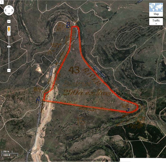 Google Maps image of area c2013 with Stromlo 43 boundary in red