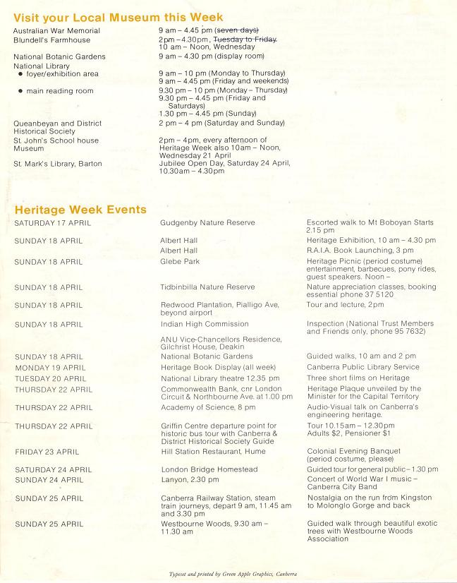 1982 Heritage Week program - page 3
