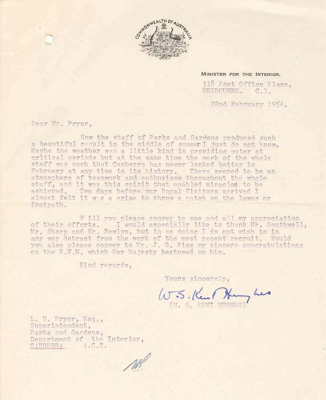 LF1081 - Dept of the Interior - Royal Visit 1952 - Now 1954 - Letter 22/02/1954