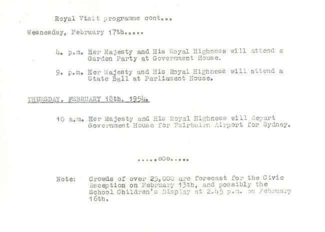 LF1081 - Dept of the Interior - Royal Visit 1952 - Now 1954 - 1954 Royal Tour Programme p.2