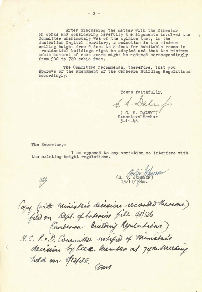 PC35/5/0 – National Capital Planning & Development Committee – Ceiling Heights in Dwellings - Letter dated 15/11/1948 p2