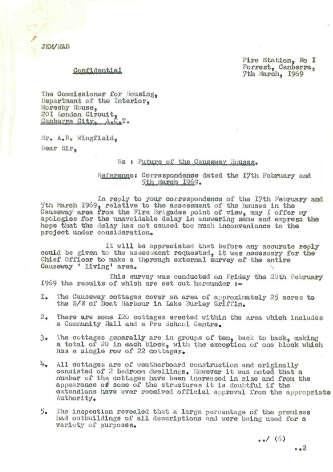 Memo from Chief Fire Officer to Commissioner for Housing - 07/03/1969 - page 1