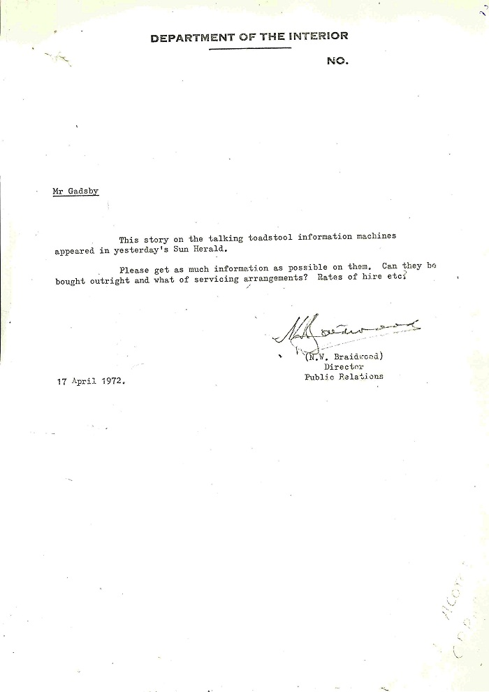 72/122 - Canberra Tourist Bureau - Information Machines - folio 2