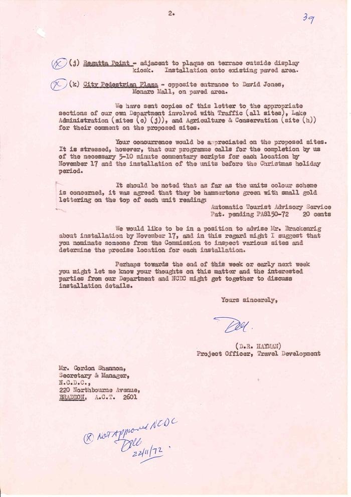 72/122 - Canberra Tourist Bureau - Information Machines - folio 39