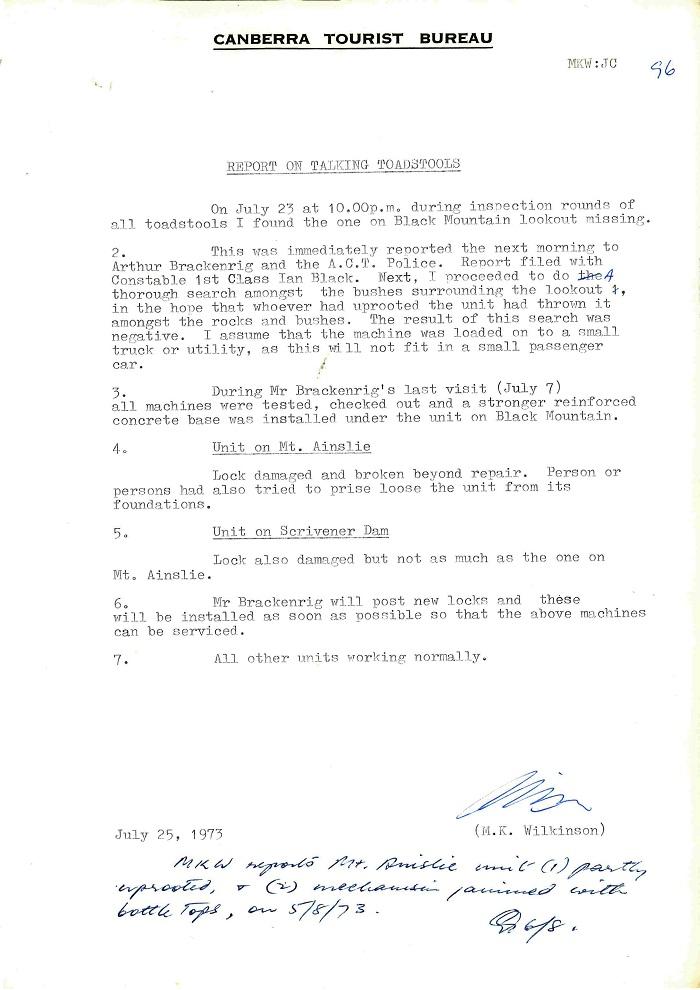73/43 - ACT Tourist Bureau - Information Machines (Talking Toadstools) - folio 96