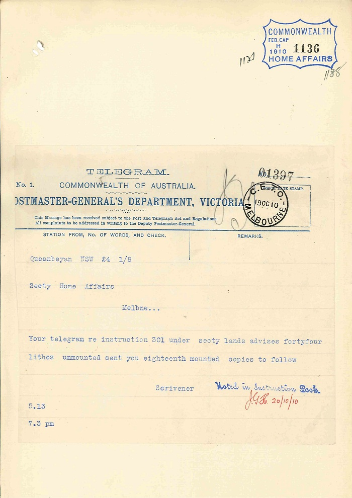Telegram to Secretary of Home Affairs from Charles Scrivener 19th October 1910