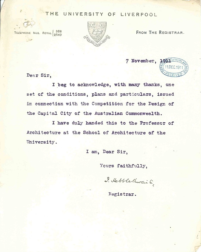 Letter acknowledging receipt from University of Liverpool 7th November 1911