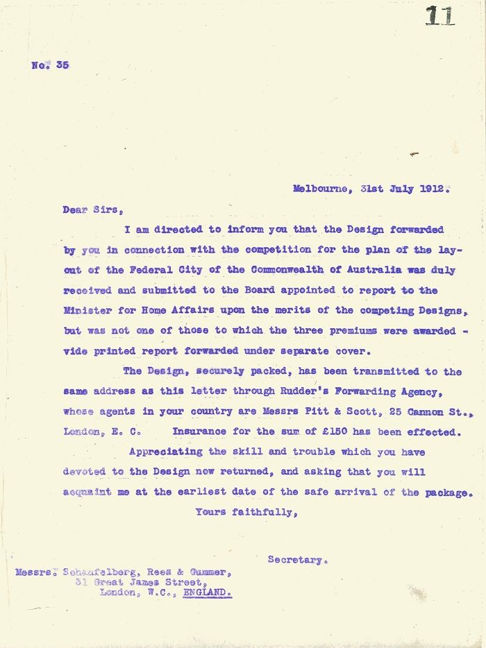 Rejection letter to Schaufelberg, Rees and Gummer 31st July 1912
