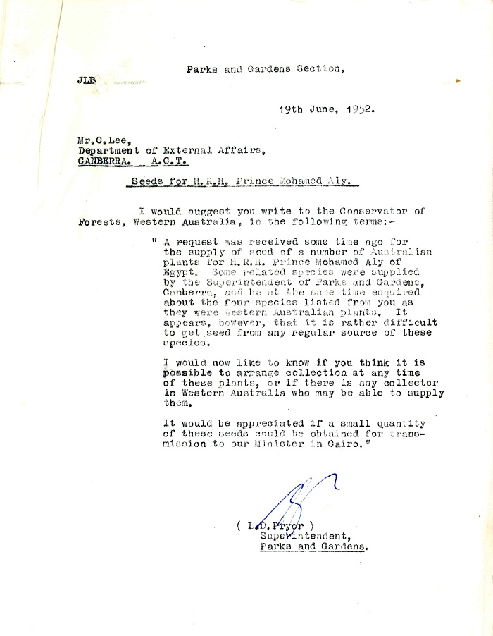 Memo to C. Lee from Lindsay Pryor 19th June 1952