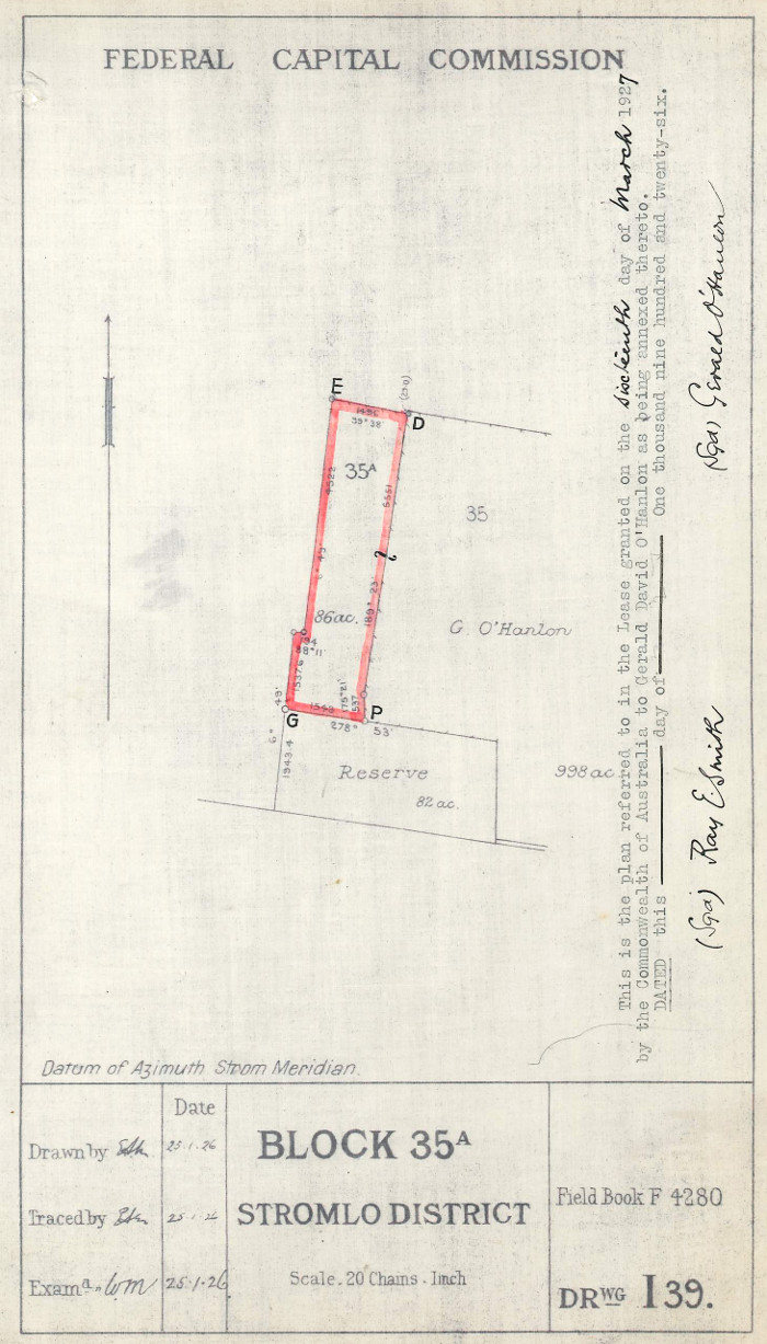 Plan of Stromlo Block 35A