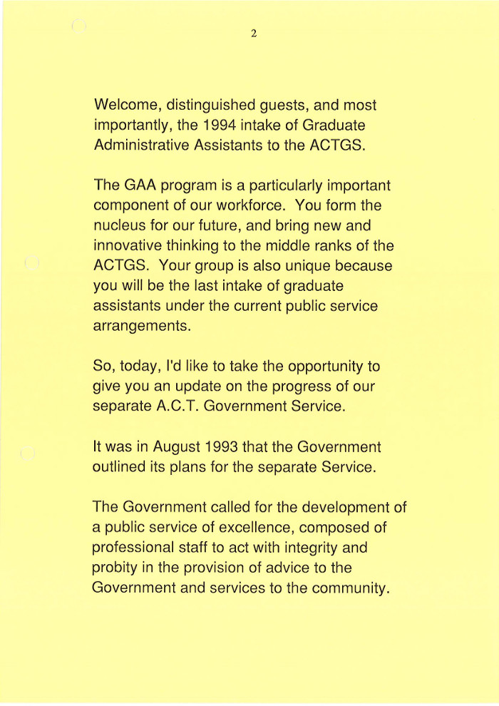 Progress With the Separate ACT Government Service 17 February 1994 - page 2