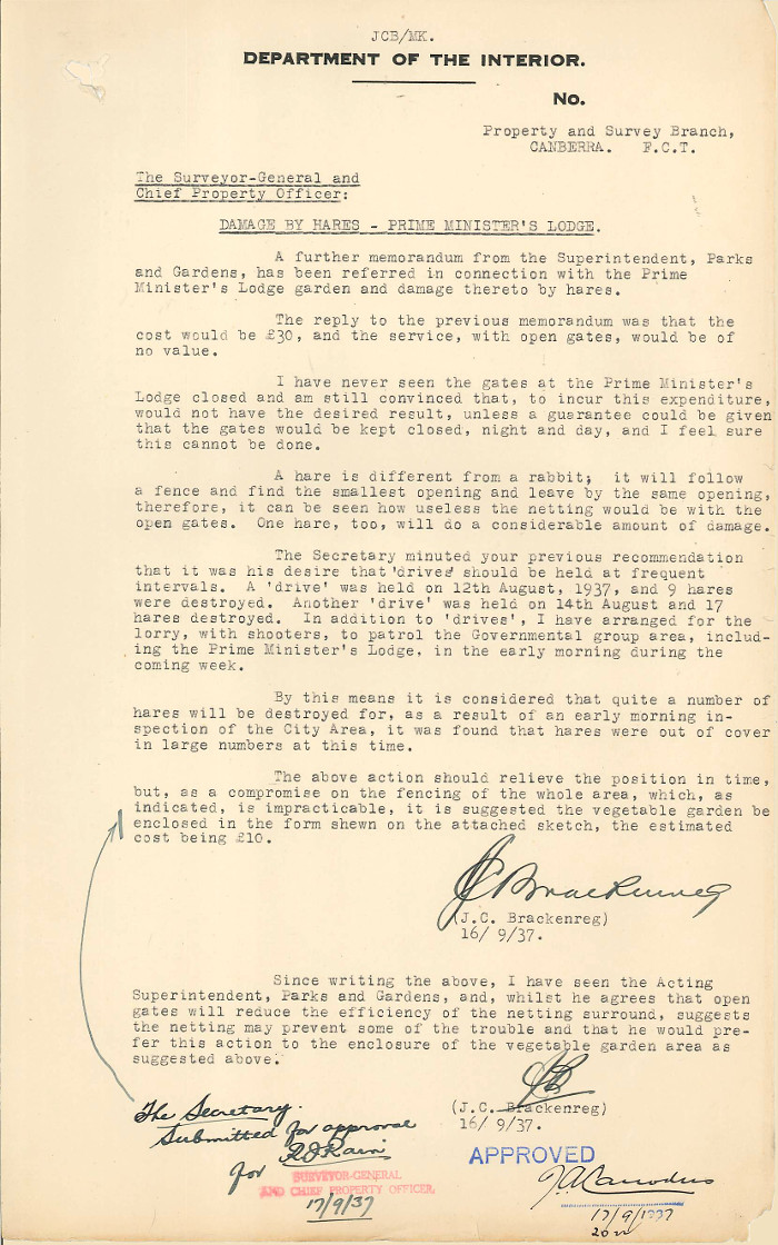 Memo by Brackenreg dated 16th September 1937