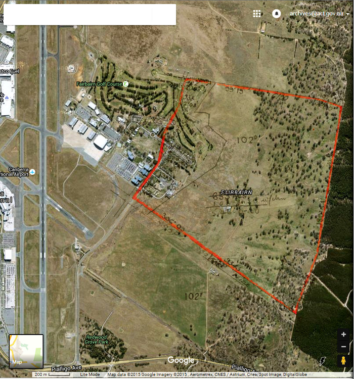 Google Maps image of area c2014 with Gungahlin Block 102D boundary in red.