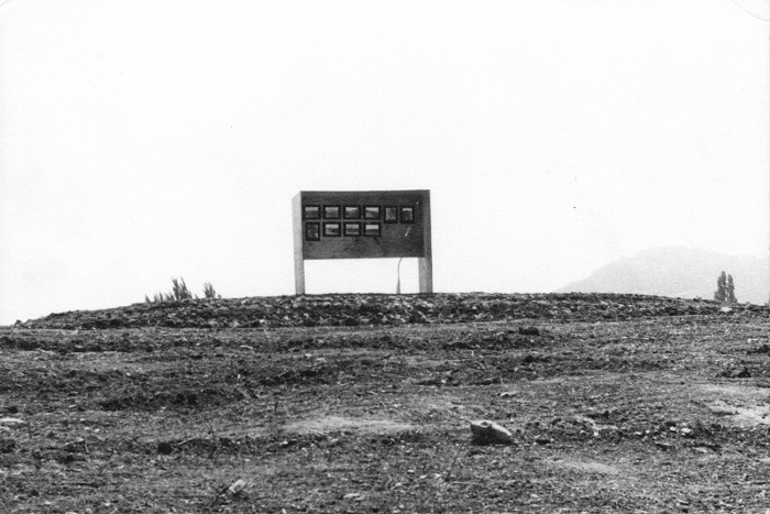 The sign marking Bert Flugelman's 'Earthwork' during Sculpture '75