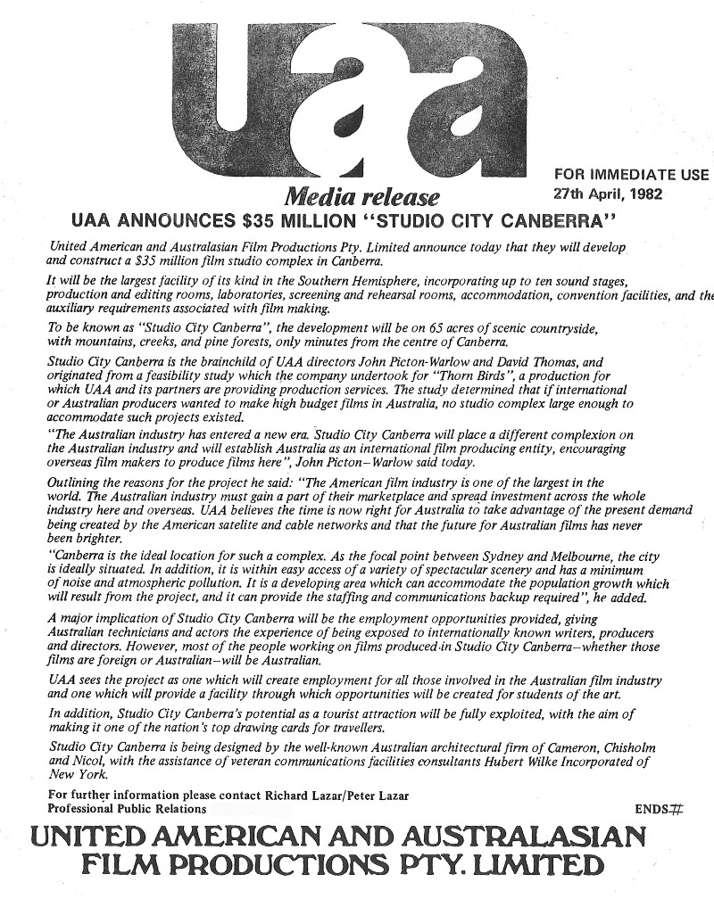 UAA Media Release announcing Studio City Canberra dated 27th April 1982