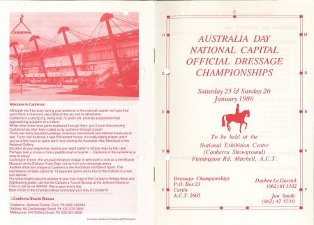 dressage brochure for the Canberra championships 1986