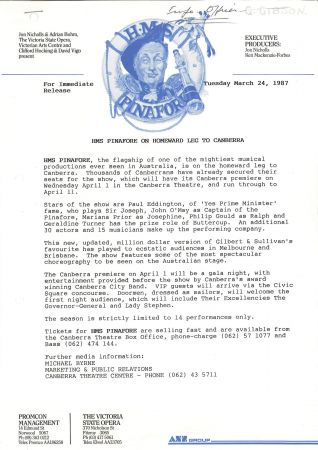 HMS Pinafore press release