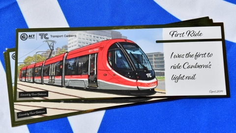 Certificates handed out at the launch of the Canberra light rail 2019