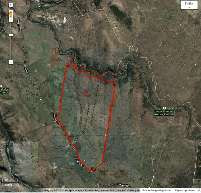 Google Maps image of area c2013 with Stromlo Block 7 boundary in red