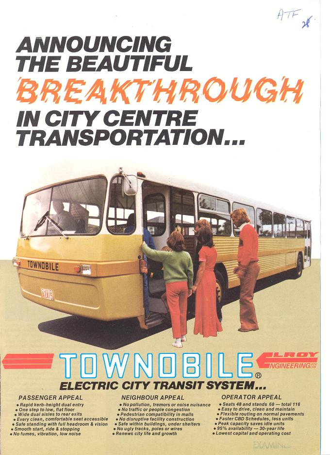 Townobile Electric City Transit System brochure - page 1
