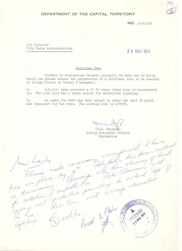 Department of Capital Territory Memo : Christmas Tree 26/09/1974
