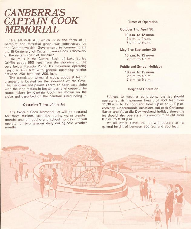 Canberra's Captain Cook Memorial - 1972 Brochure Text