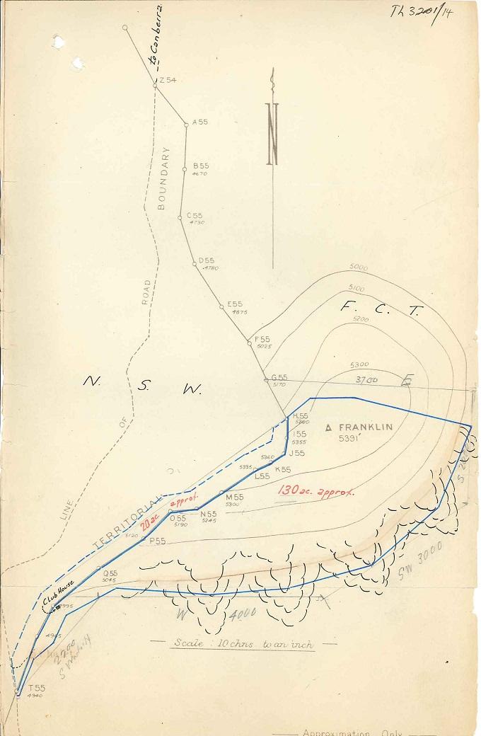 Parks Reserves & Public Places - Liaison - Lands Branch - Cotter River - Canberra Alpine Club - Block 2 & 4 (Mt Franklin Chalet) 1935-1957 pt 1 : folio Map (c1938)