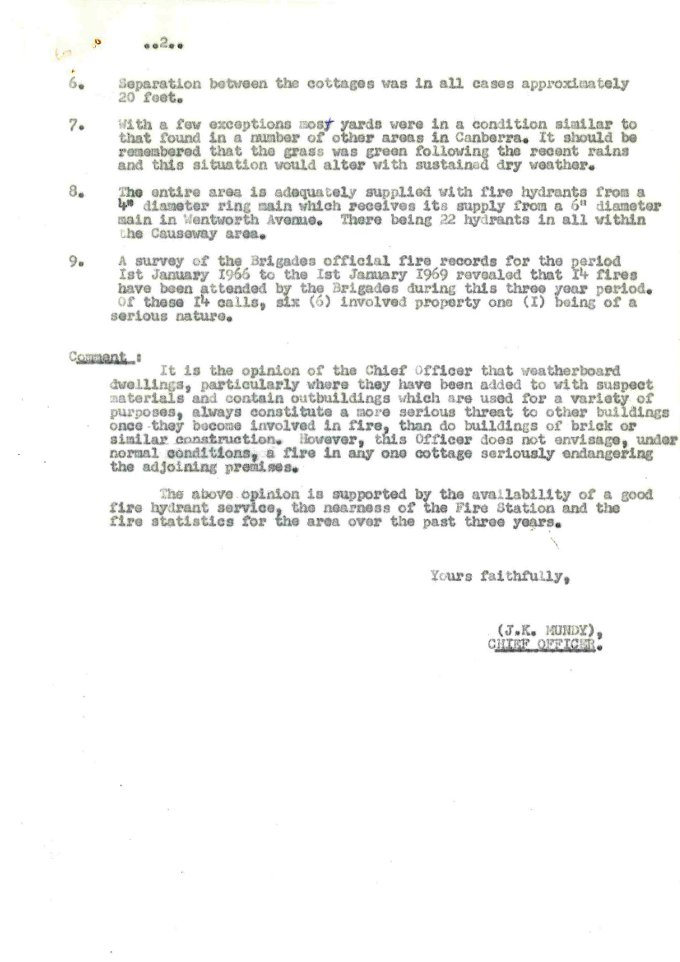 Memo from Chief Fire Officer to Commissioner for Housing - 07/03/1969 - page 2