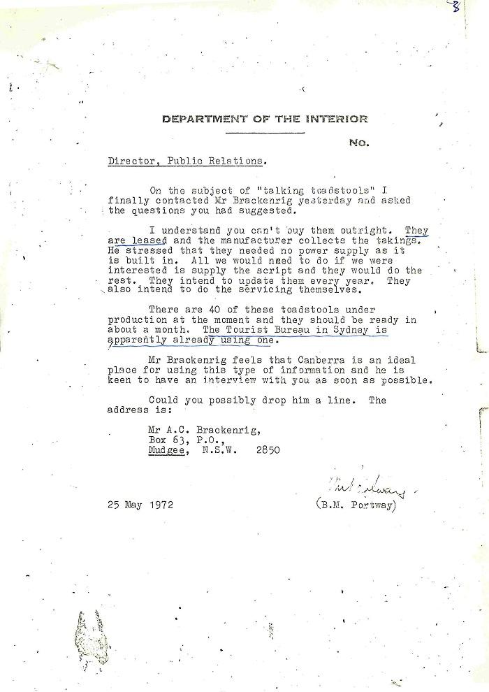72/122 - Canberra Tourist Bureau - Information Machines - folio 3