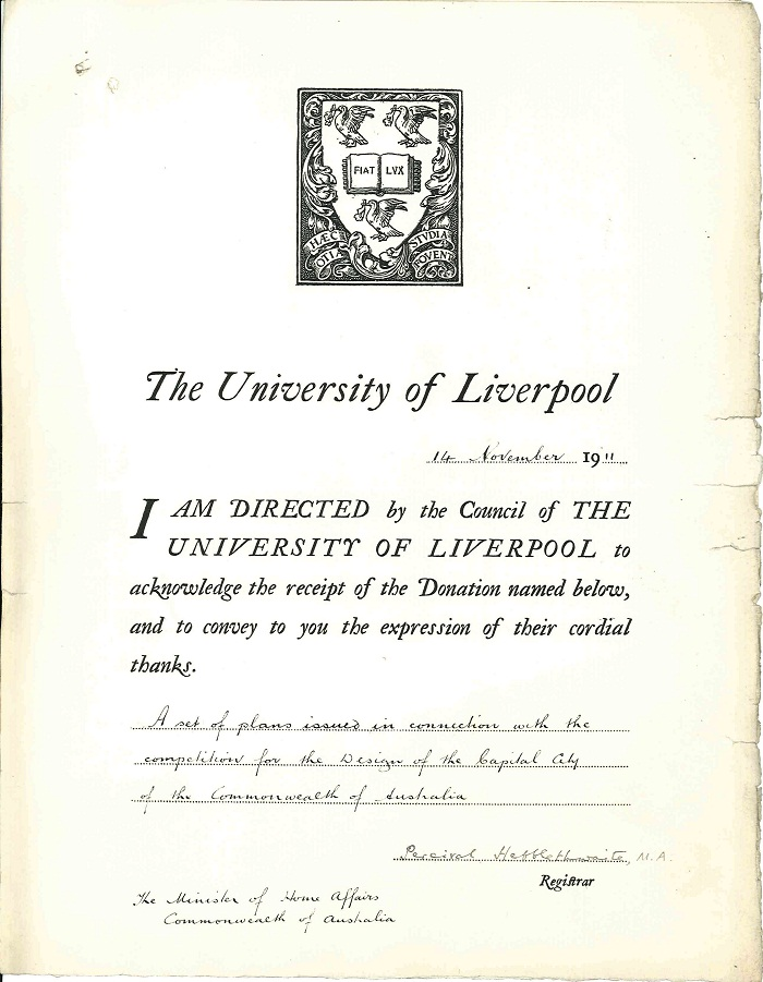 Certificate acknowledging receipt from University of Liverpool 7th November 1911