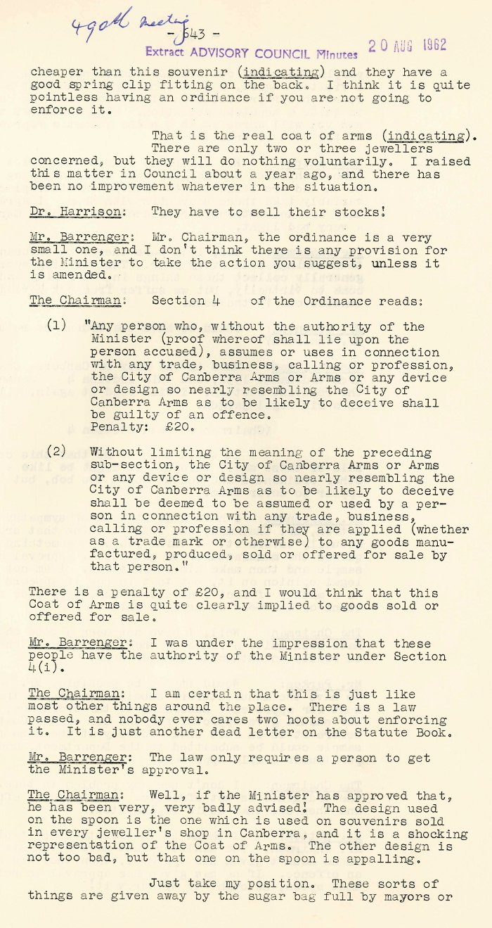 Excerpt from ACT Advisory Council Meeting 490 p.643 - 20-08-1962