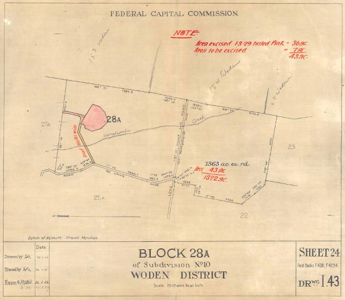 Plan of Woden Block 28A in 1929