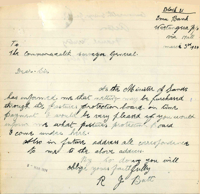 Letter from Robert Butt to Commonwealth Surveyor General date the 3rd March 1924