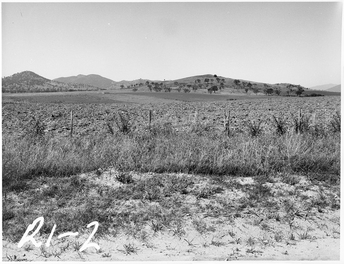 Photo of Tuggeranong Bombing Range c1972 looking south towards Mt Stranger