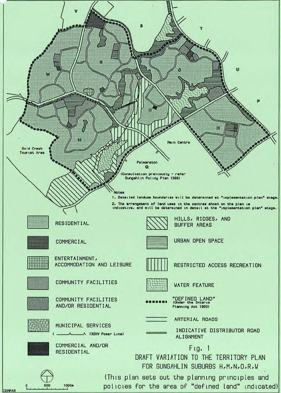 Draft Variation to the Territory Plan for Gungahlin Suburbs H, M, N, O, R, W (Source: 91/19078)