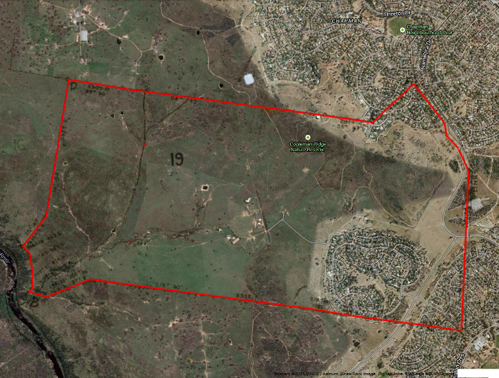 Google Maps image of area c2014 with the boundary for the original Stromlo Block 19 in red