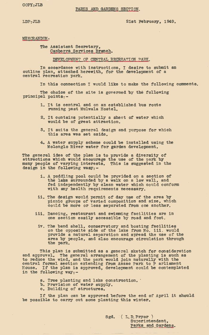Memo from Lindsay Pryor dated 21st February 1949