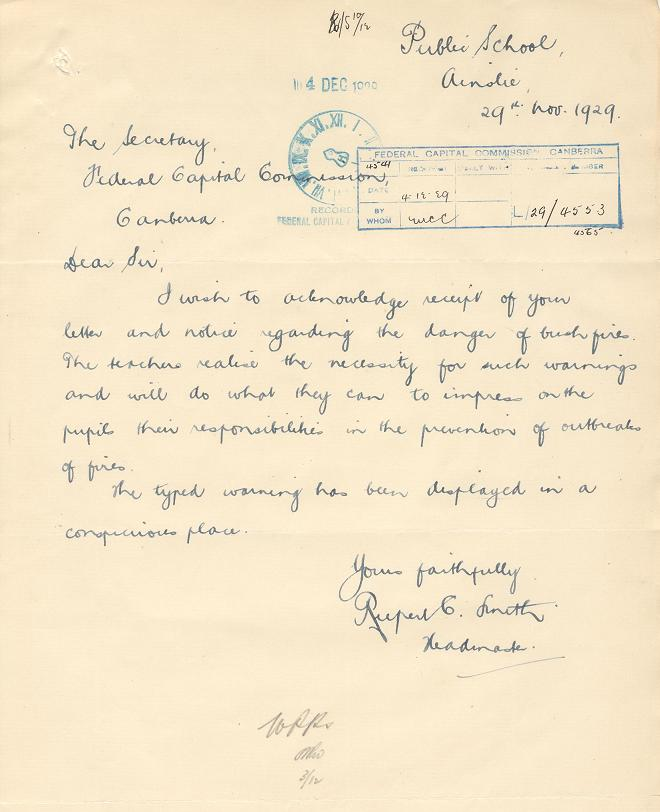 Acknowledgement of Reciept 29/11/1929 : Ainslie School