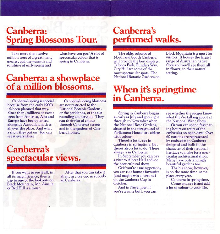Canberra: Spring Blossoms Tour text