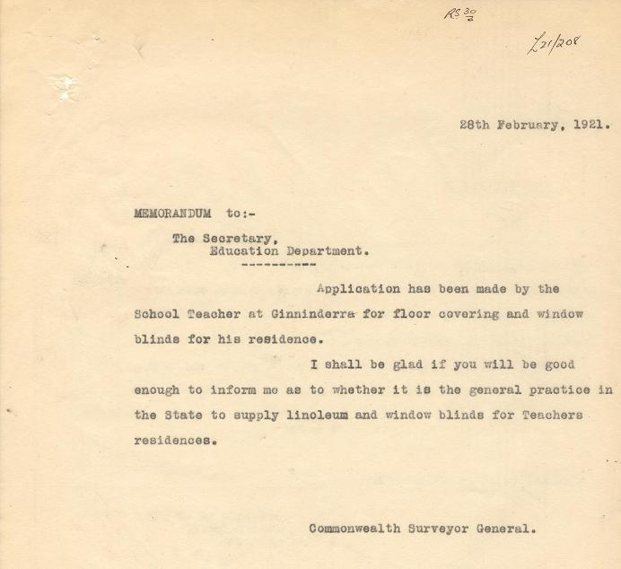 Memo to the Secretary, Education Department from P.J. Sheaffe dated 28/02/1921